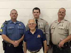 The Paden family serves Great Bend and Barton County as law-enforcement officers. Back row, from left to right are: David, Mason and Bill, who currently serve. Don Paden, who served years ago, is in the foreground.